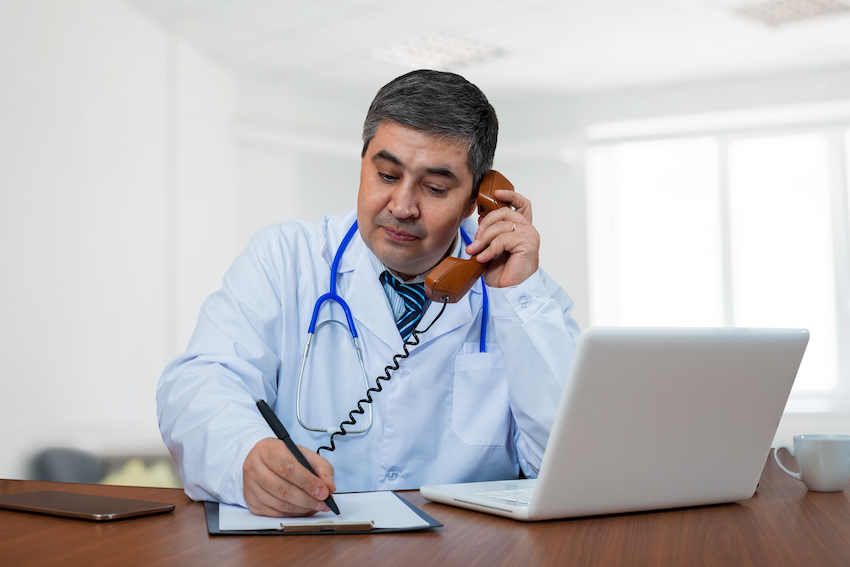 a dr on phone image
