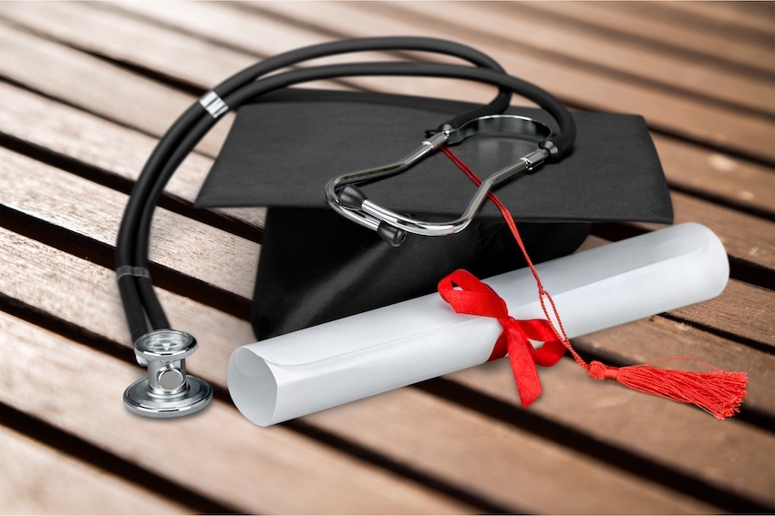 a mortar board and stethoscope imge cb