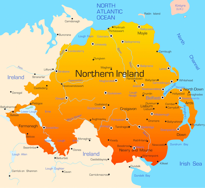 a northern ireland map
